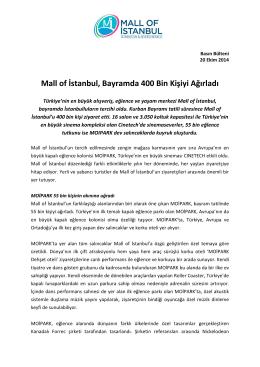 Mall of İstanbul, Bayramda 400 Bin Kişiyi Ağırladı