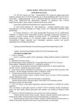 GENEL KURUL TOPLANTI TUTANAĞI (25.01.2014 OLAĞAN - öz-ar