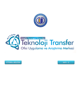 ETTOM e-BÜLTEN SAYI – 2 - ESOGÜ Teknoloji Transfer Ofisi