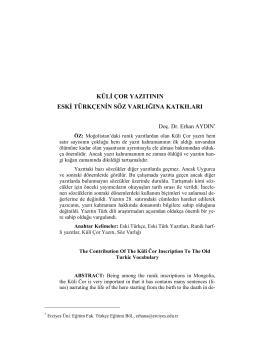 küli çor yazıtının eski türkçenin söz varlığına katkıları
