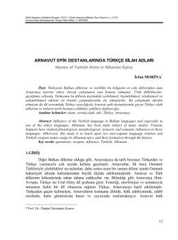 Arnavut Epik Destanlarında Türkçe Silah Adları