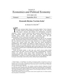 Ekonomik Büyüme Teorisine Katkı