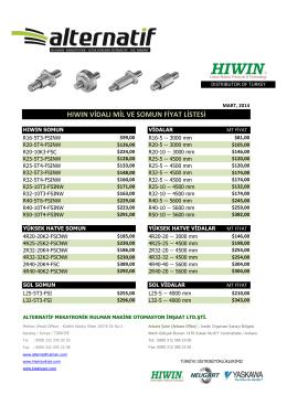 hiwin vidalı mil fiyat listesi