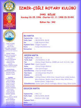 Çiğli Rotary Bülten 942 - İzmir Çiğli Rotary Kulübü