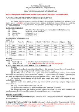 Sigorta Ġhale saati 1 14,00 Kamyon 51 KF 194 BMC Fatih 1998