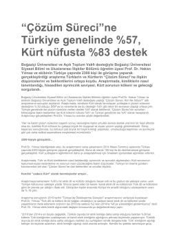"""""""Çözüm Süreci""""ne Türkiye genelinde %57, Kürt"""