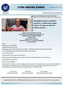 Mayıs 2014 İletisi - ÇYDD Ankara Şubesi