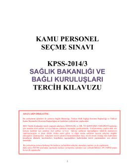KPSS-2014/3 Tercih Kılavuzu