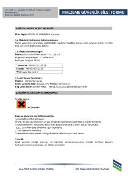 BPCOAT-TF Serisi MSDS - BPC