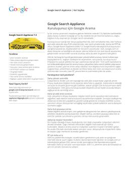 Google Search Appliance Kuruluşunuz için Google Arama