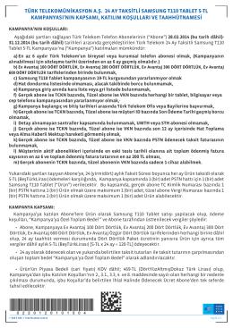 türk telekomünikasyon a.ş. 24 ay taksitli samsung t110 tablet 5-tl