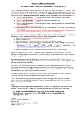 Öğrenci Ödemeleri Prosedürü - İstanbul Ticaret Üniversitesi