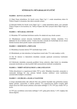 Süper Kupa Müsabaka Statüsü - Türkiye Futbol Federasyonu