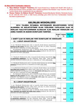 GELİRLER MÜDÜRLÜĞÜ - İstanbul Büyükşehir Belediyesi