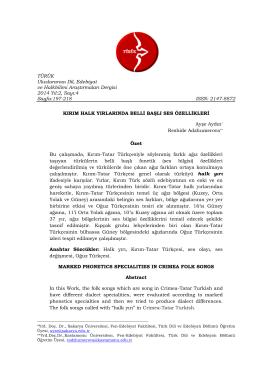 TÜRÜK Uluslararası Dil, Edebiyat ve Halkbilimi Araştırmaları Dergisi
