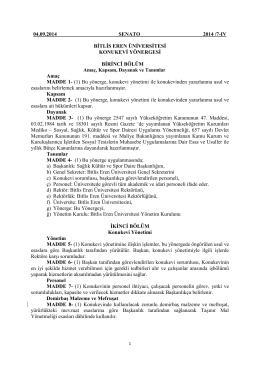 04.09.2014 SENATO 2014 /7-IV BİTLİS EREN ÜNİVERSİTESİ