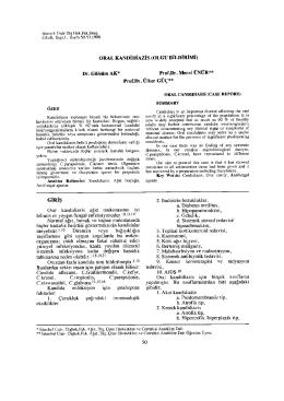 ORAL KANDİDİAZİS (OLGU BİLDİRİMİ) Dr. Gülsüm AK