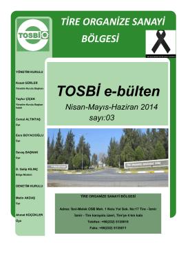 TOSBİ e-bülten - Tire Organize Sanayi Bölgesi