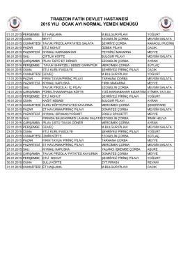 günlük yemek listesi - fatih devlet hastanesi