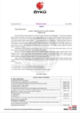 2015 yılı damga vergileri güncellenmiştir.