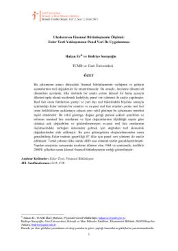 Euler Testi Yaklaşımının Panel Veri İle Uygulanması