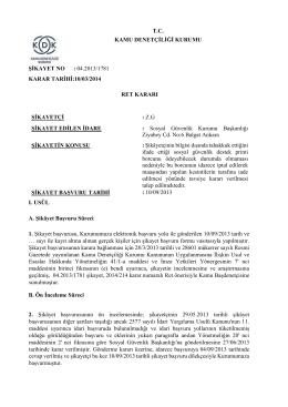 T.C. KAMU DENETÇİLİĞİ KURUMU ŞİKAYET NO : 04.2013/1781