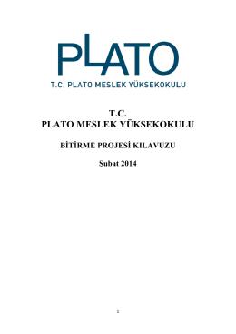 Bitirme Projesi Klavuzu - Plato Meslek Yüksekokulu