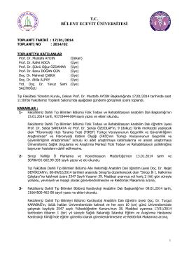 17/01/2014 Tıp Fakültesi Yönetim Kurulu Kararı
