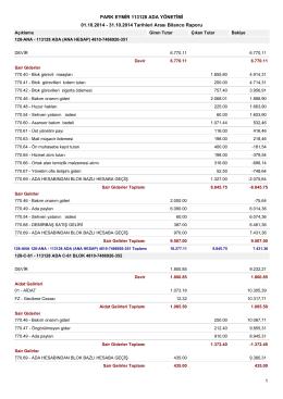 01.10.2014 - 31.10.2014 Tarihleri Arası Bilanco Raporu PARK