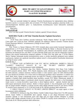 Mart 2014 Faaliyet Raporu - Rize Ticaret ve Sanayi Odası