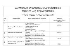 Fethiye Orman İşletme Müdürlüğü Kamu Hizmet Standartları Tablosu