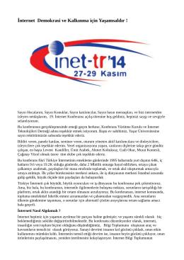 İnternet Demokrasi ve Kalkınma için Yaşamsaldır ! - Inet-tr
