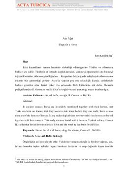 Ata Ağıt - Acta Turcica
