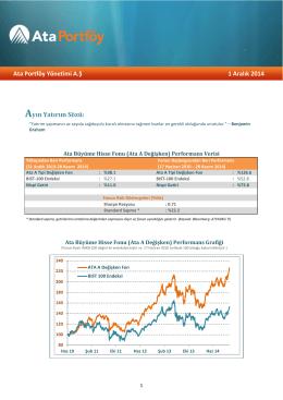 Ata Portföy Yönetimi A.Ş 1 Aralık 2014 Ayın Yatırım Sözü: