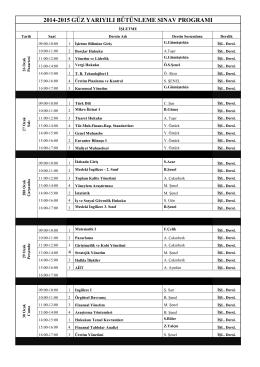 2014-2015 güz yarıyılı bütünleme sınav programı