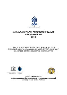 antalya kıyıları arkeolojik sualtı araştırmaları 2013