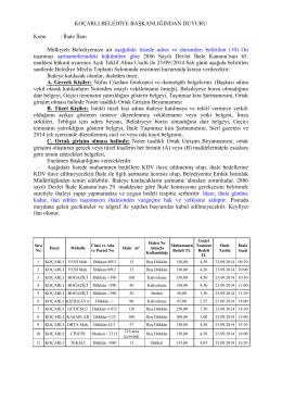 İhale İlanı Mülkiyeti Belediyemize ait aşağıdaki listede adres ve dur