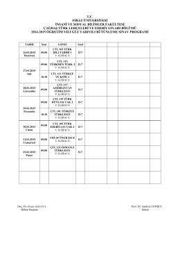 2014-15 Güz Dönemi Bütünleme Sınav Programı
