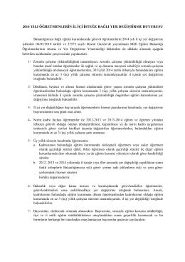 İl İçi Yer Değiştirme Duyurusu - Milli Eğitim Bakanlığı Personel