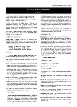 TOSFED Baja Kupası Kuralları - Türkiye Otomobil Sporları