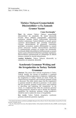 Türkiye Türkçesi Gramerindeki Düzensizlikler ve Eş Zamanlı Gramer