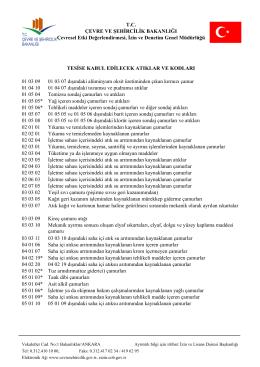 Tesise Kabul Edilecek Atık Kod Listesi