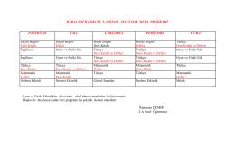 baraj dsi ilkokulu 2-a sınıfı haftalık ders proğramı
