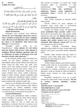 """07.11.2014 Tarihli """"Varlıkla Sınanmak"""""""