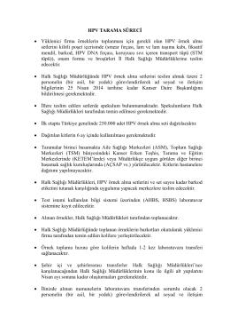 HPV Tarama Süreci - Türkiye Halk Sağlığı Kurumu