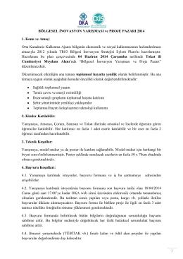 BÖLGESEL İNOVASYON YARIŞMASI ve PROJE PAZARI 2014 1