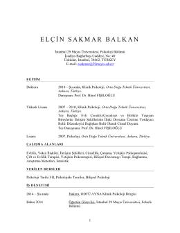 ELÇ İ N SAKMAR BALKAN - İstanbul 29 Mayıs Üniversitesi