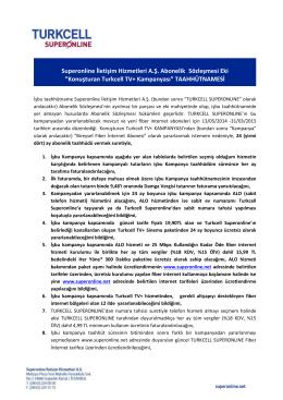 Superonline İletişim Hizmetleri A.Ş. Abonelik Sözleşmesi Eki