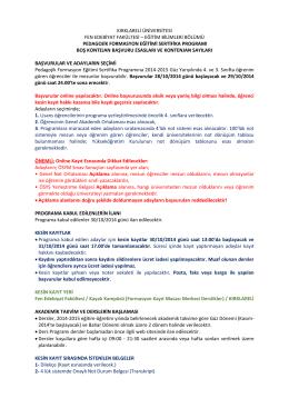 duyuru - Fen Edebiyat Fakültesi