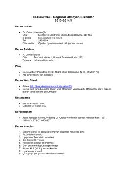 ELE401/501 - Doğrusal Sistemler